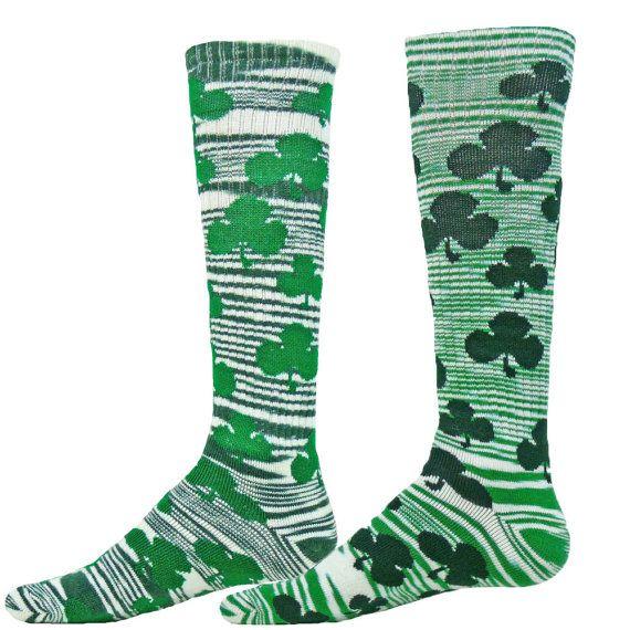 Celtic Shamrock Irish Athletic Novelty Socks clover green kelly St. Pattys**FREE SHIPPING**