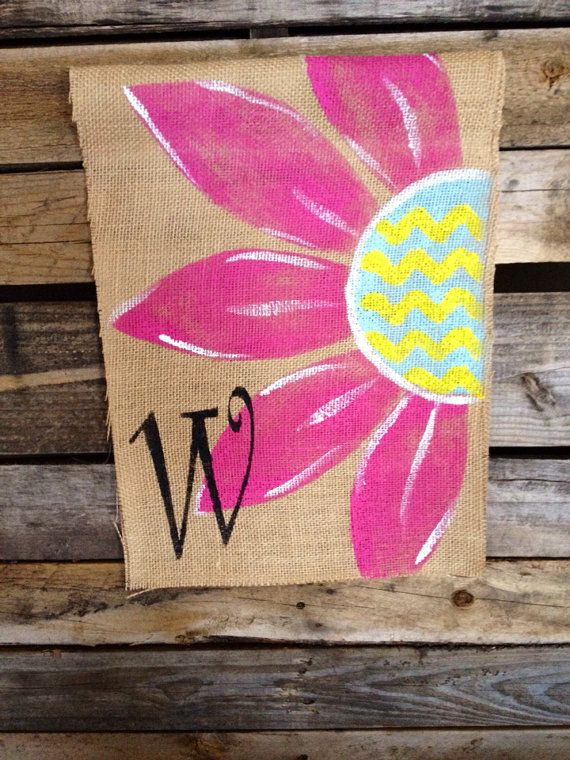 Hot Pink Flower Burlap  Flag Monogram by PrettyNSweetCouture, $20.00