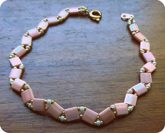 Pink and cream tila bracelet