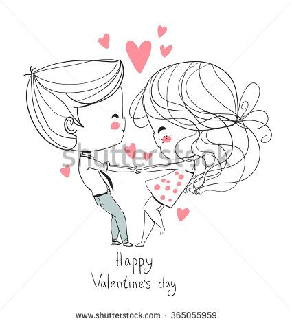 Cute girl and boy. Valentine's Day. Girl and boy holding hands. Love card.