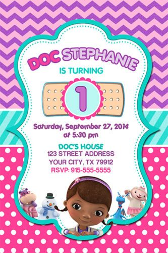 Beautiful Doc McStuffins birthday party invitation for your little girls celebration.  This invite can be fully customized.  Other party supplies include tableware, cake decorations and favors.