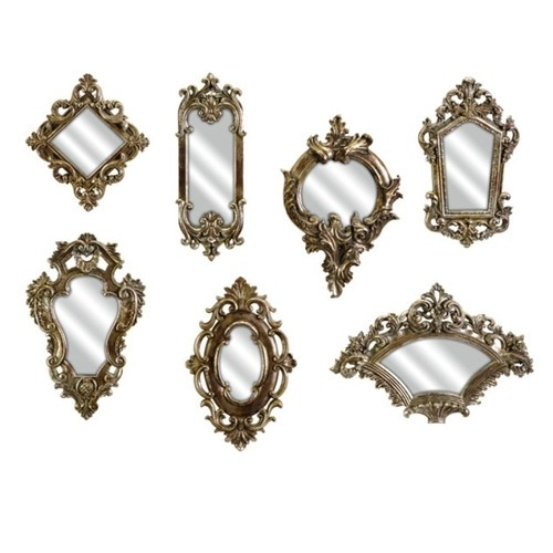 Set Of 7 Loletta Victorian Shabby Country Chic Accent Mirrors Champagne Finish Ebay