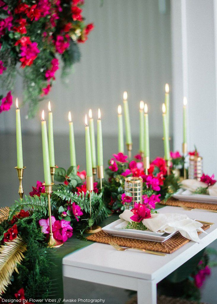 Chartreuse Green Taper Candle   Spring Wedding Ideas   Afloral.com