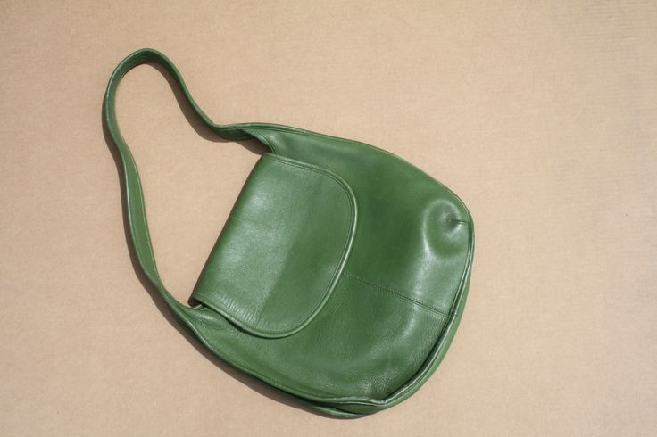 1980s Green Leather Coach Hobo Bag