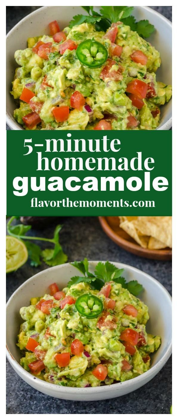 5-Minute Homemade Guacamole is a chunky, flavorful guacamole that will become your new go-to recipe! It's great for topping tacos, fajitas, or serving with chips! @FlavortheMoment