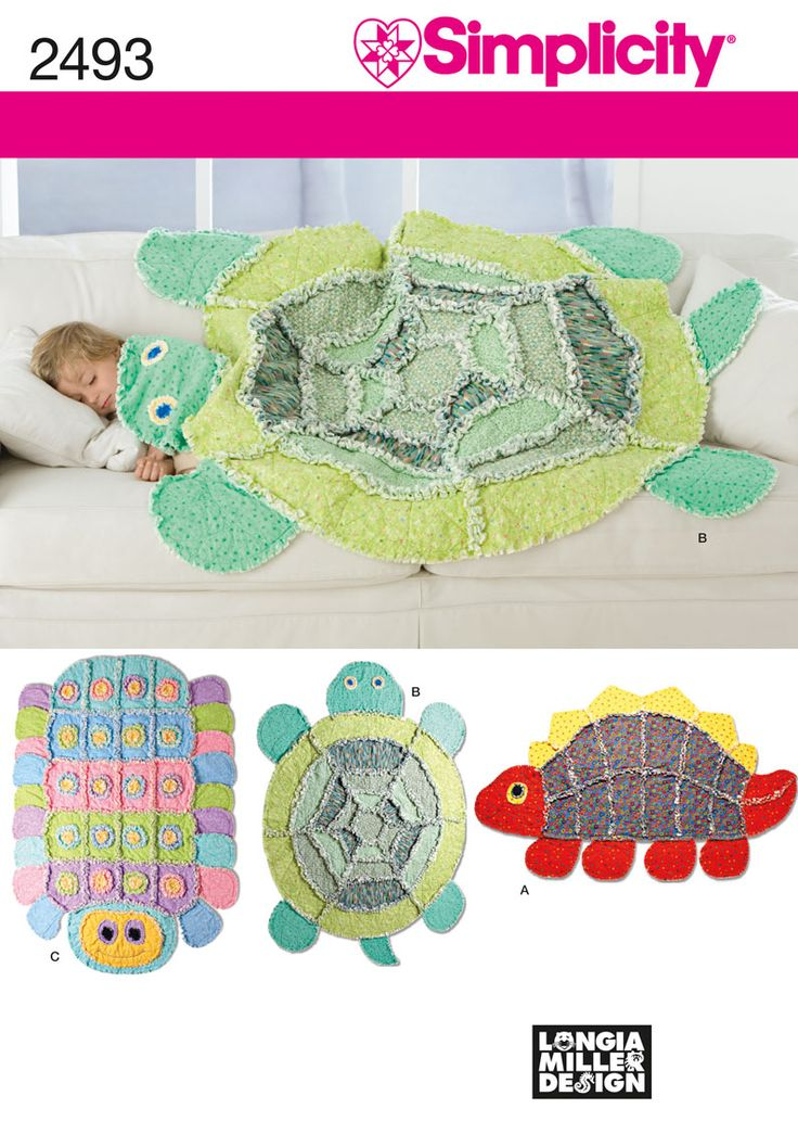Rag Quilt: turtle, caterpillar, dinosaur. Totally don't need a pattern.
