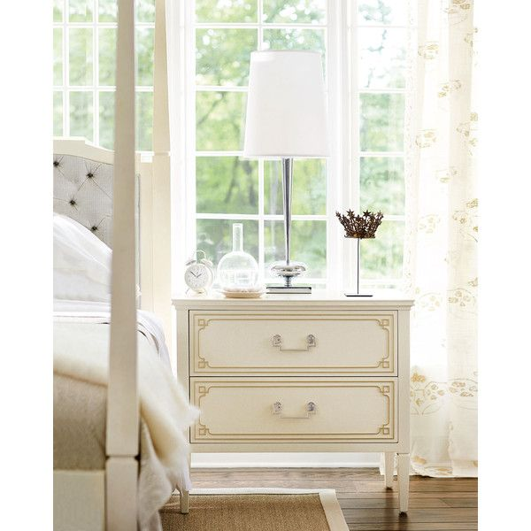 Bernhardt Natalie 2-Drawer Nightstand (3.500 BRL) ❤ liked on Polyvore featuring home, furniture, storage & shelves, nightstands, ivory, antique white furniture, off white nightstand, cream nightstand, cream furniture and ivory furniture