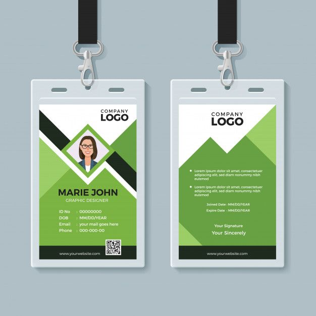 Creative Green Id Card Design Template Identity Card Design Id Card Template Conference Badges Design