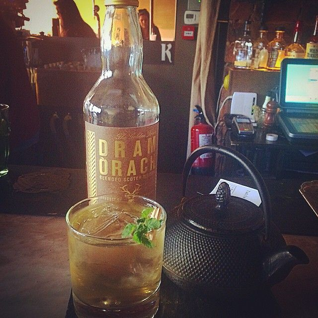 From the geniuses @kelvingrovecafeglasgow. A green tea old fashioned #dramorach #whiskycocktail #thatattentiontodetail