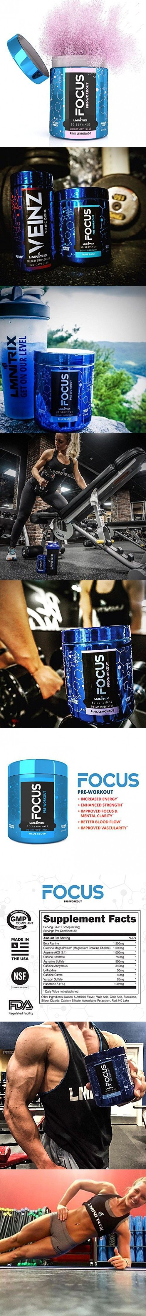 FOCUS ✮ Pre-Workout Supplement ✮ For Men & Women - Guaranteed Results ✮ Best Tasting Powder For Strength, Energy, and Endurance ✮ 30 servings