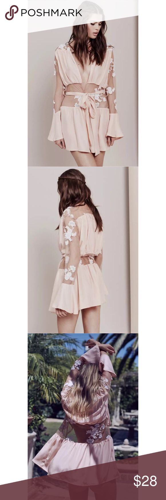 NWOT FL&L inspired Lace Robe XS $89 Beach cover NWOT FL&L inspired Lace Robe  Condition: New without tags Color: Pink/Nude Size: XS Retail Price US$89  For Love and Lemons inspired!  Measurement  Length 75cm Bust 78cm Sleeve 58cm For Love and Lemons Intimates & Sleepwear Robes