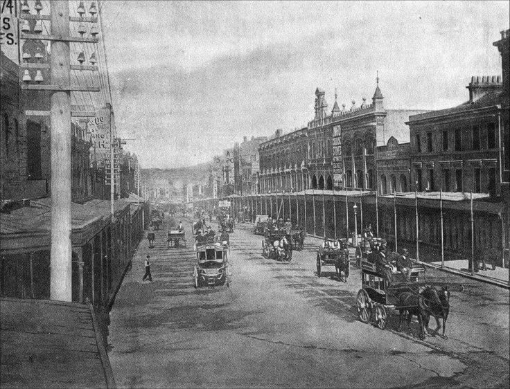 The southern view down George St,Sydney from Liverpool St before Anthony Horderns appeared down the left side on the corner of Goulburn St in 1897.