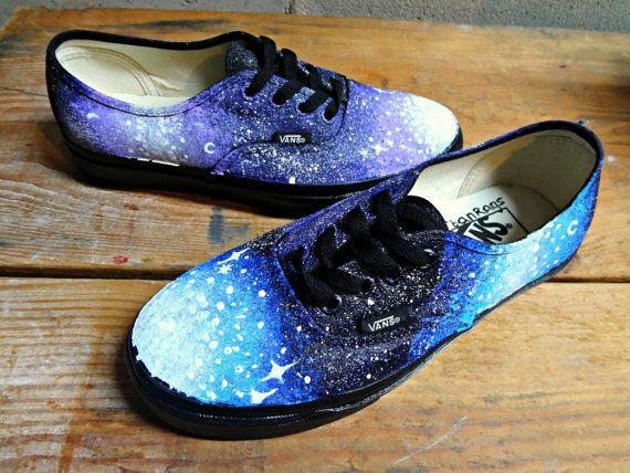 Galaxy Vans Shoes (Black). $100.00, via Etsy. waaaaat
