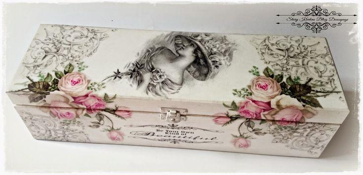 Παλιά Ντουλάπι - Blog - Decoupage: Αγγλικά κυρία ανάμεσα σε τριαντάφυλλα - λευκό και γκρι - Decoupage.