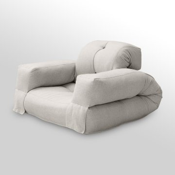 Add comfort and versatility to any room with the Hippo Sleeper Chair. Made of thick, comfortable padding and a colorful cotton and poly blend fabric, this chair offers more than one way to rest and relax. For daily use, it functions as a low-slung puffy chair with a backrest and arms, perfect for watching TV, reading, or gaming. When the need for an extra sleeping space arises, the Hippo Sleeper chair easily folds out into a comfortable single mattress. Perfect for dorm or apts, etc.
