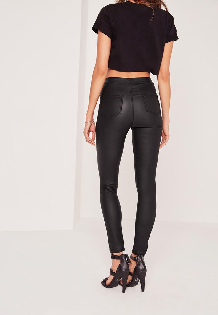 Missguided - Vice High Waisted Coated Skinny Jeans Black