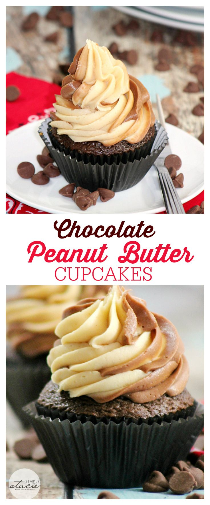 Chocolate Peanut Butter Cupcakes - Rich milk chocolate cupcake with a ...