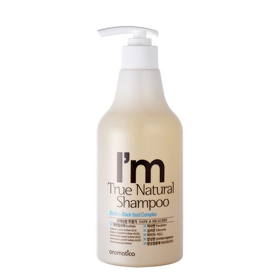 I'm True Natural Shampoo_500ml / Stay away from sulfates, parabens, silicones, synthetic fragrances! A gentle natural shampoo suitable for daily use for all hair types is formulated with the natural Ginger extract and Biotin to help balance the sebum production. 6 special black foods help relieve the stress of your scalp, prevent breakage and split ends.