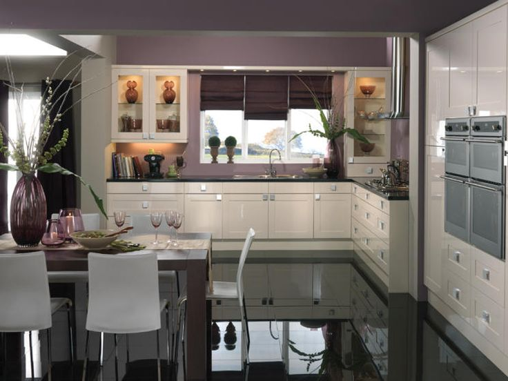 photo of contemporary shiny grey mauve purple premier kitchens kitchen with black worktop white kitchen cabinets