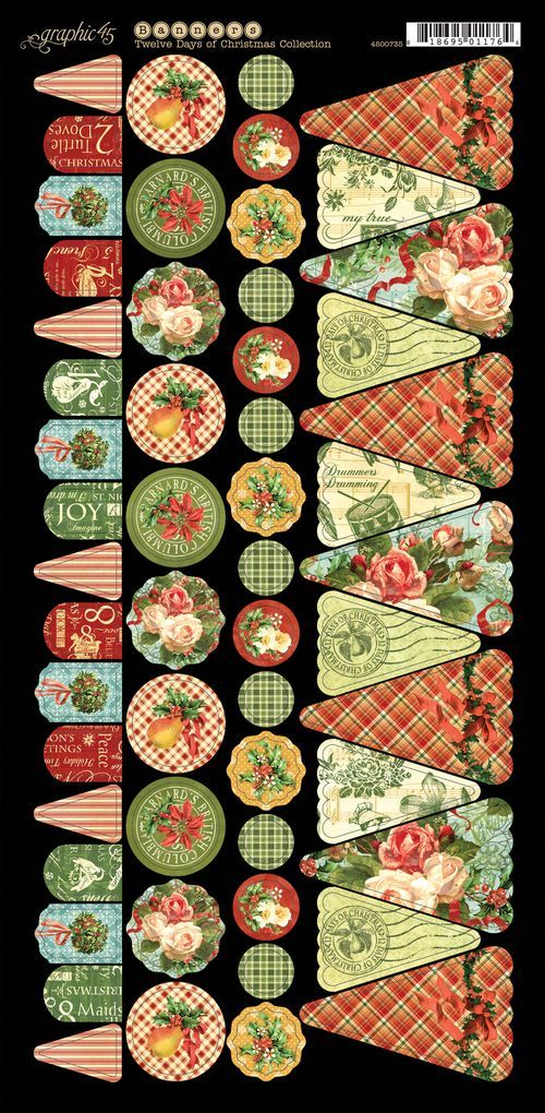 Twelve Days of Christmas Cardstock Banners 1 #graphic45 #newcollection #sneakpeeks