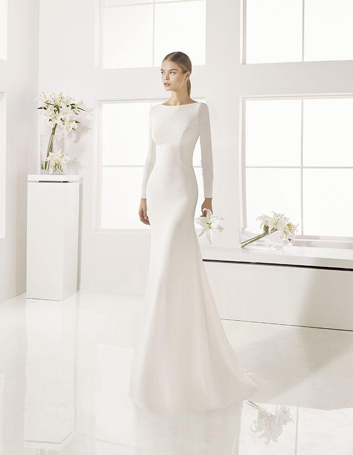 Geranio - Long-sleeved crepe dress, in natural.