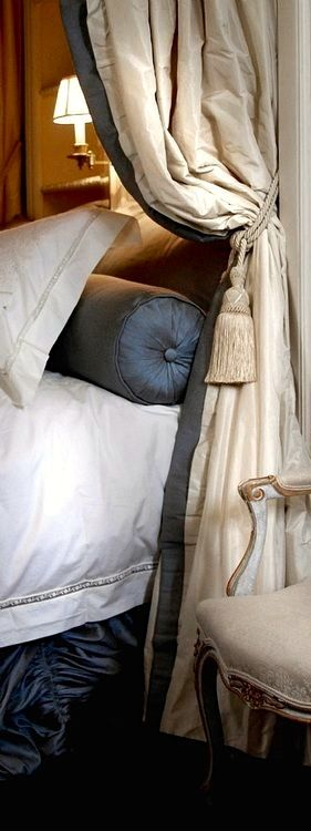 Bedtime luxury.  Interlined curtains with contrast borders and matching bolster cushion pillow