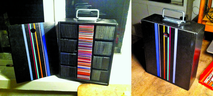 Old wine-box repurposed to contain Magic the Gathering cards
