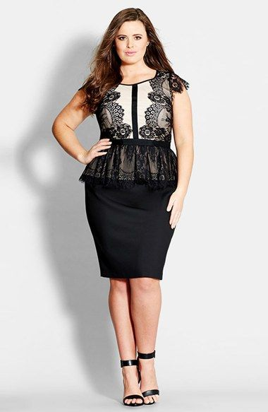 City Chic 'Lace Lana' Peplum Sheath Dress (Plus Size) available at #Nordstrom