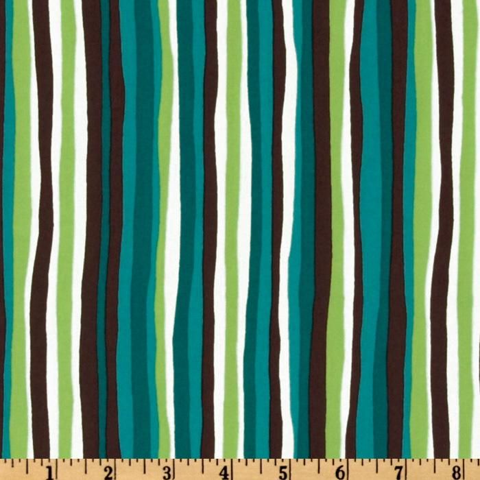 Groove On Wavy Stripes Teal Brown Green