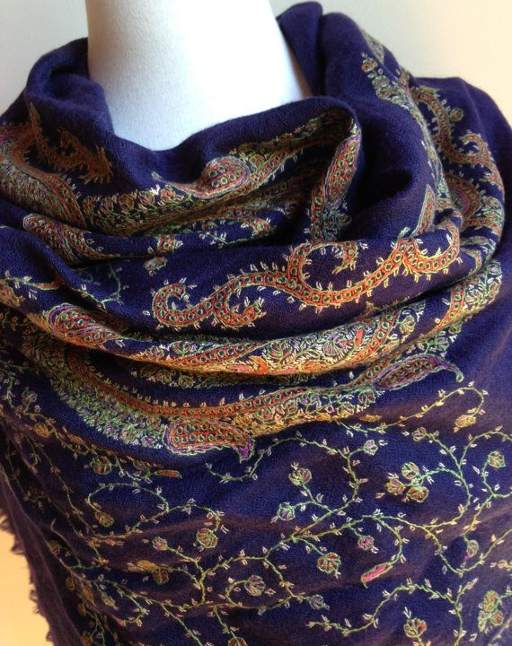 EMBROIDERED KASHMIR SHAWL Cashmere Pashmina by KashmirCouture
