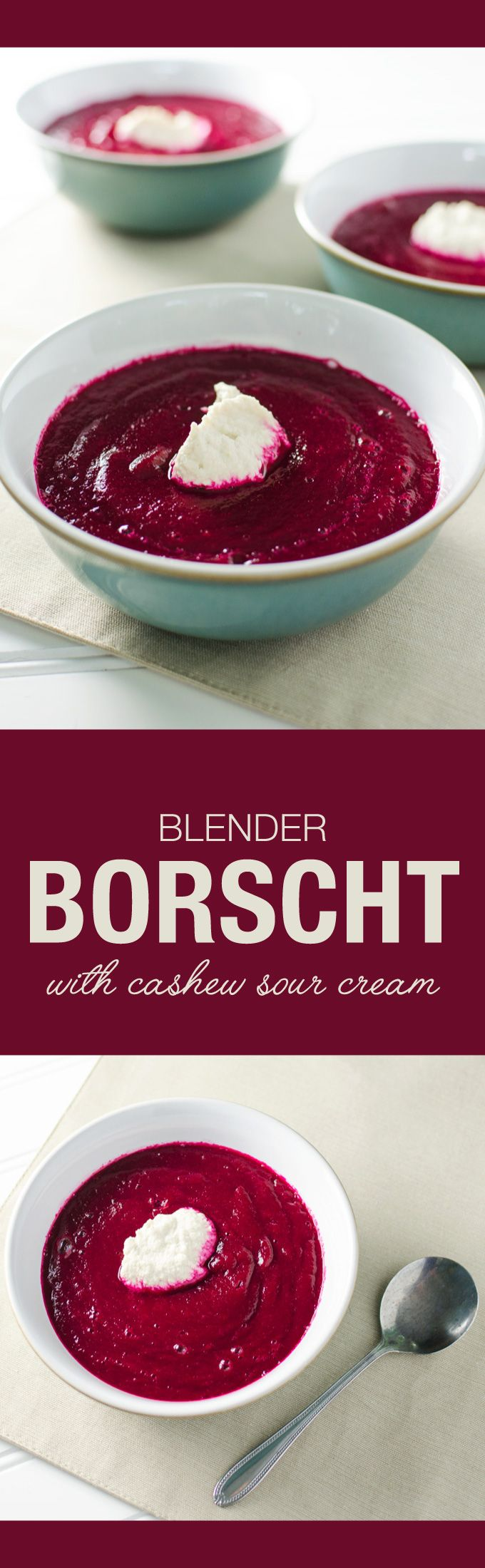 Blender Borscht - a.k.a Cold Beet Soup - a delicious vegan and gluten free recipe | VeggiePrimer.com