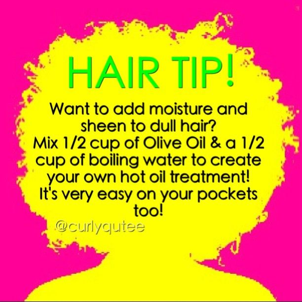 For an extra boost of moisture add coconut oil. Its not only great for moisture but it's AMAZING for shine! #AllHairTypes #HealthyManes ------>  Make your own hot oil treatment