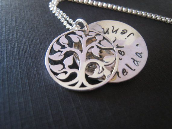 hand stamped personalized tree of life locket by stampedjewellery, $84.00
