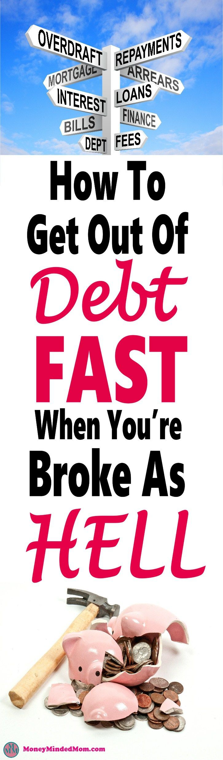 How To Get Yourself Out Of Debt Fast When You're Broke as Hell~ Paying off debt is really difficult, especially when living from paycheck to paycheck. But it can be done, click over to read how. debt | debt payoff | money | paying off debt | debt free #debt #money #finance #debtfree