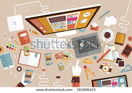 Set of Flat Design Icons. Mobile Phones, Tablet PC, Marketing Technologies, Mobile Apps, Email, Video Services and Money Management. Concept...