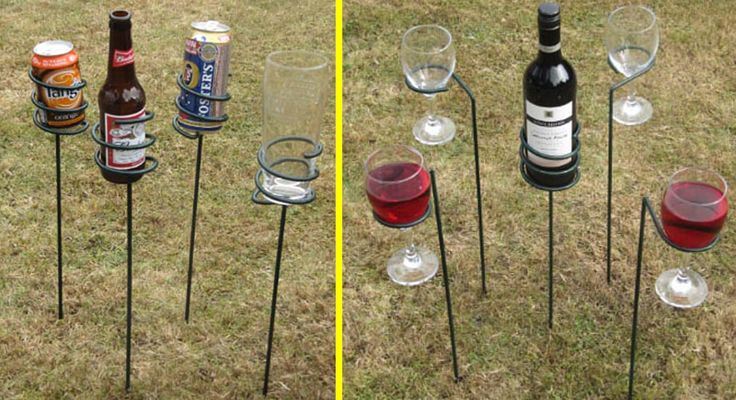 Set of 5 Wine Sticks and 4 Drinks Holder | Gifts for The Home & Garden, Outdoor Drinks Holders, Picnic Equipment