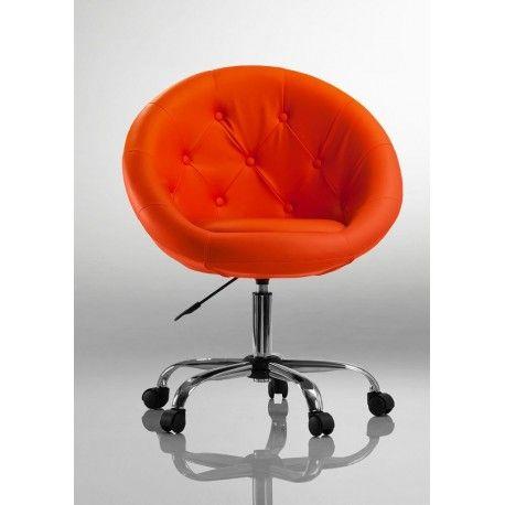 Fauteuil à roulette cuir PU tabouret chaise de bureau orange BUR09035