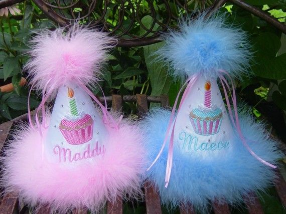 Boutique Quality, Cupcake First Birthday Hat, You Choose Colors,     by GINGHAM BUNNY EMBROIDERY. $24.99, via Etsy.