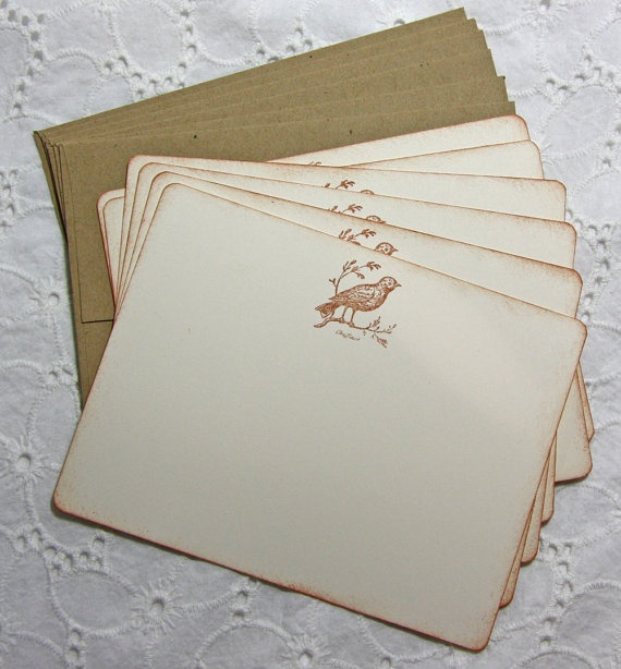 Vintage Bird Stationary Set of 6 cards and by TorisCustomCreations, $7.50