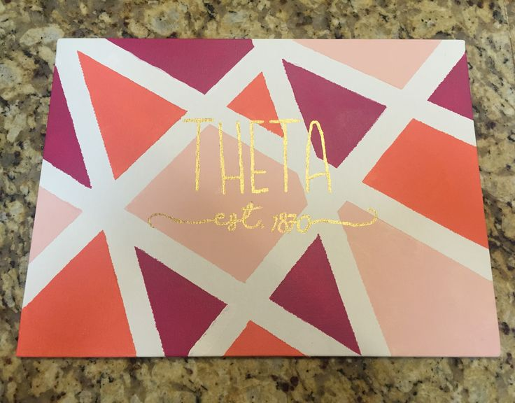 Kappa Alpha Theta geometric canvas, super easy to make!