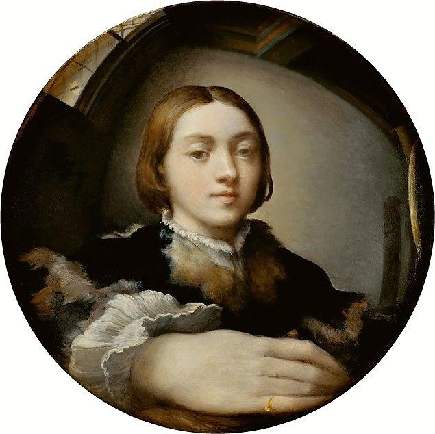 """""""Autorretrato em Espelho Convexo"""" (1524), de Girolamo Francesco Maria Mazzola, mais conhecido como Parmigianino"""