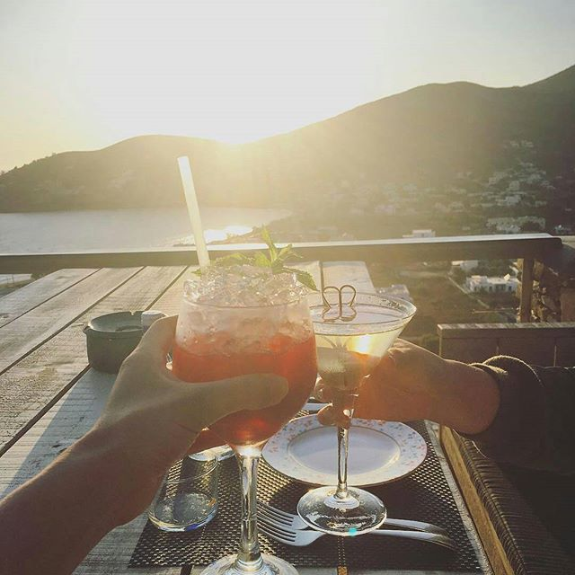 """""""Yamas to another beautiful sunset. Everything is so beautiful here, I don't want to take the vistas for granted!"""" Thank you so much @ohmomo for sharing this amazing photo! #grandmasrestaurant #liostasi #ios #iosisland #greece #sunset #cheers #greekisland #cyclades"""