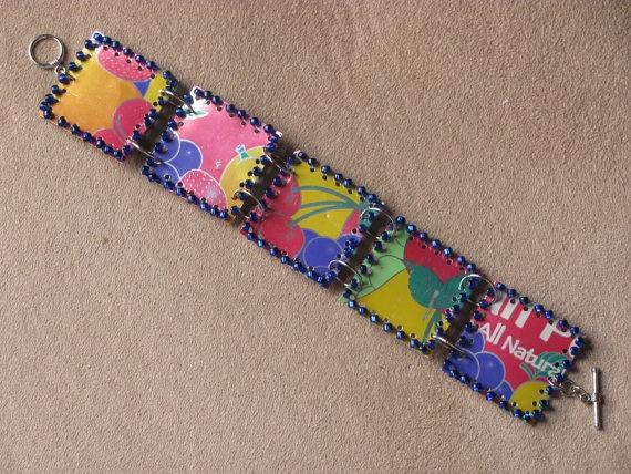 Upcycled beaded soda can Bracelet