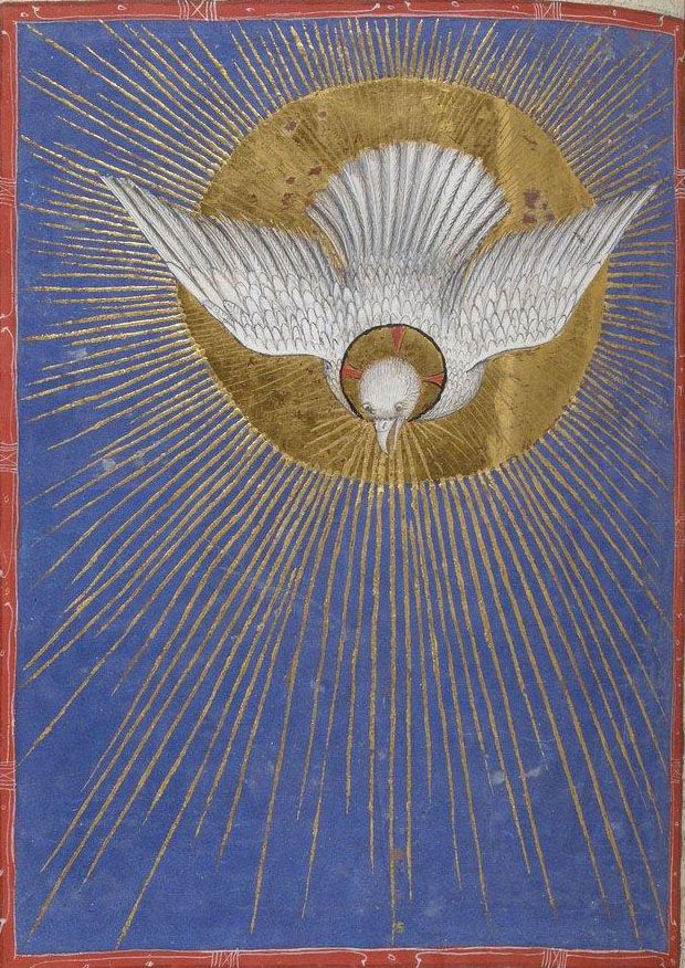 HOLY SPIRIT DOVE... nationale de France, Latin 747, f. 241v. Missale ad usum fratrum minorum. Milan, c.1385-1390.