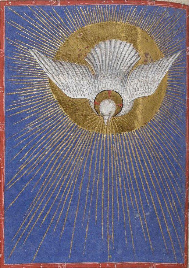 HOLY SPIRIT DOVE... nationale de France, Latin 747, f. 241v. Missale ad usum fratrum minorum. Milan, c.1385-1390.