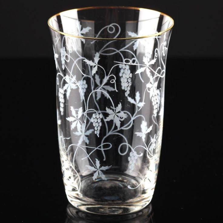 1 Vintage Becher Glas groß Spiegelau Rüdesheim Goldrand Weinlaub Ätzdekor 50er F