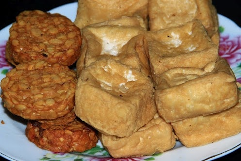 in +Indonesia we call it, #tahu (tofu) and #tempe (tempeh/soybean cake). Both are soybean products