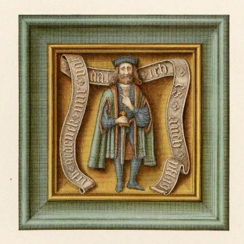 """16C German Kachelofen tile formerly in the collection of Jakob Heinrich von Hefner-Alteneck and reproduced in vol.6 of his """"Trachten Kunstwerke.."""" as pl.386 (1887) -- may now be in MAK. Banderole: """"Ich gedenck mir vol das ich es auch pflag"""" [I think I used to do that too]. One of a series of the 'Four Sexual Ages of Man' -- see album paintings and print above. AND ADVERTISING MY OFENKACHEL BOARD!"""