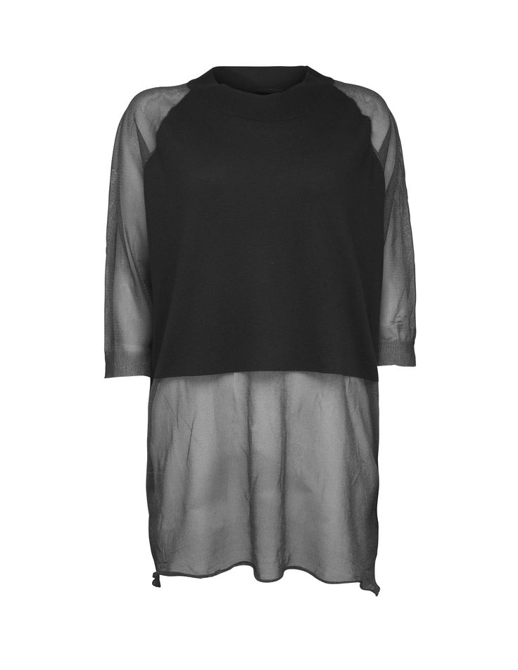Tiger Of Sweden: Batter pullover - Women's pullover in viscose-blend. Sleeves, sides and bottom in sheer mesh. Solid fabric at front and back of body. Features raglan sleeves, ribbed trim at neck and cuff and self-start at bottom hem. Boxy fit.