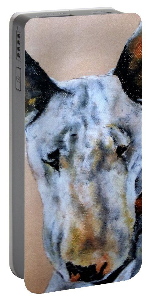 English Bull Terrier Dog: A design by Kelly Goss Art printed on to portable battery chargers with various recharge capacities. For recharging your smartphone or tablet.
